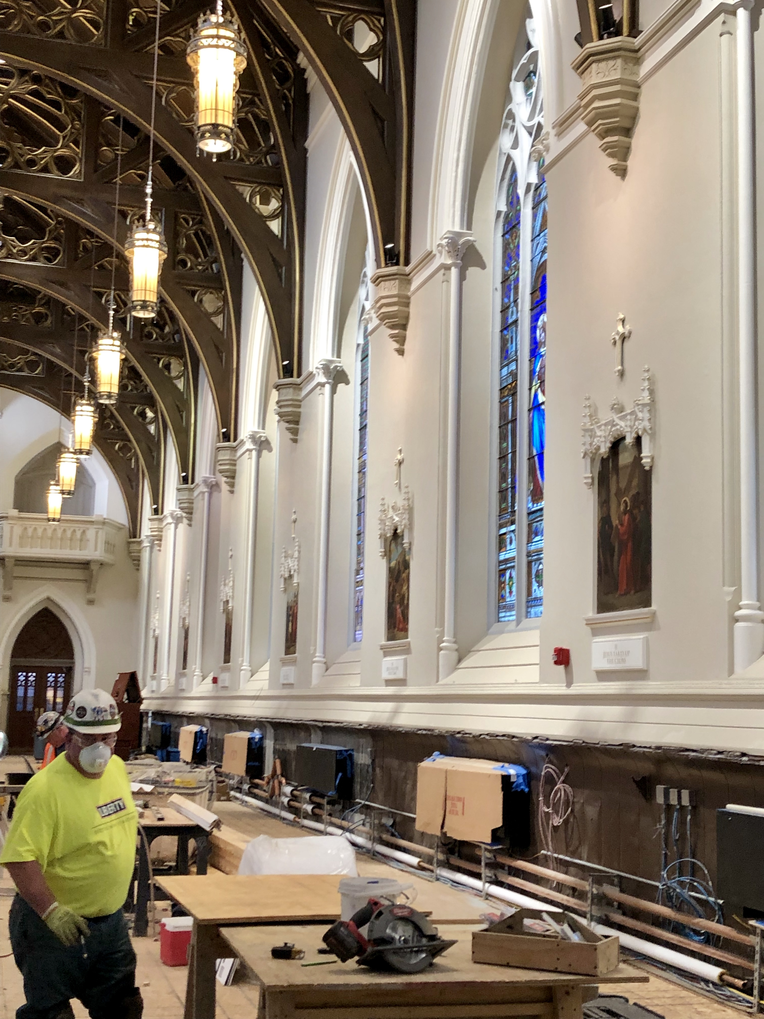 Work continues on restoring and upgrading the Cathedral under the direction of Fr Kevin O'Leary, Cathedral Rector.  Fr O'Leary gave tour of the extensive and much needed project to Fr. Diperri on Wednesday Dec 12