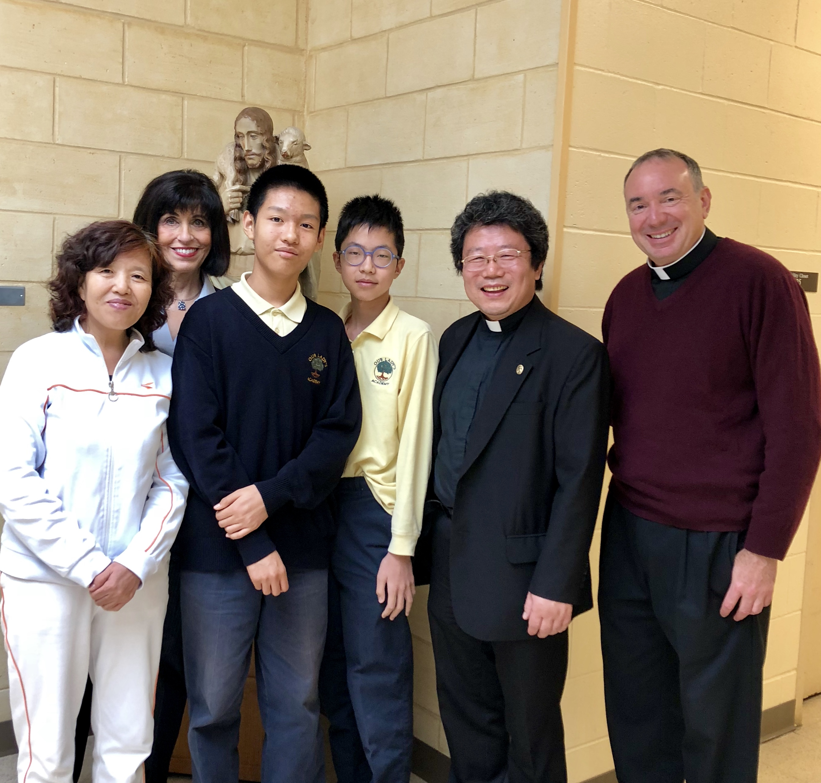 Fr John Chen, Chinese native priest, now Boston priest assigned to Catholic parishes of Lexington visiting our school to speak to our Chinese students in their native language