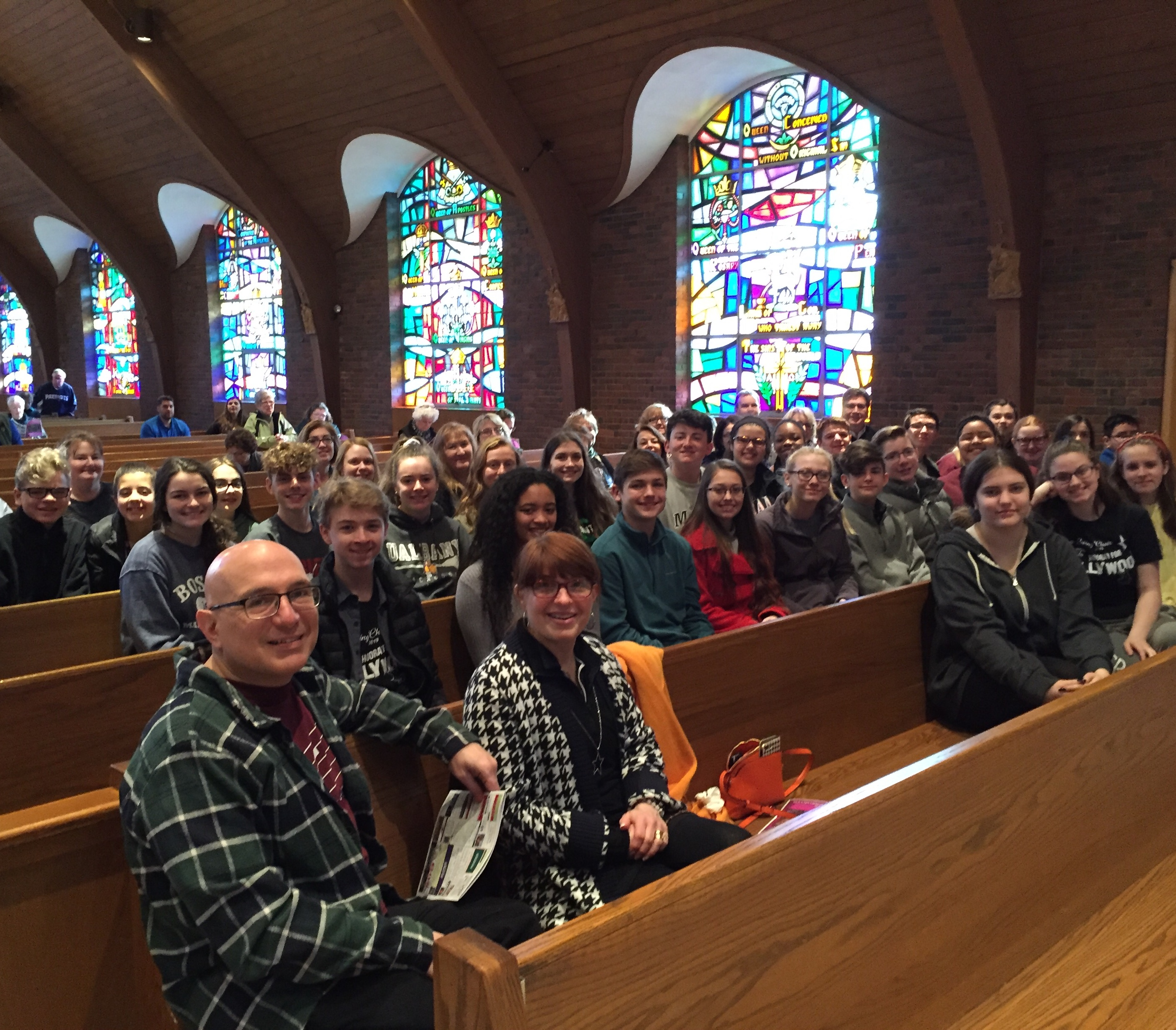 Students, teachers and parent chaperones from Seton Catholic Central High School attend 9:00 am Mass at Our Lady's before heading home to Binghamton NY. They won the Choral Competition at the Boston International Music Festival.