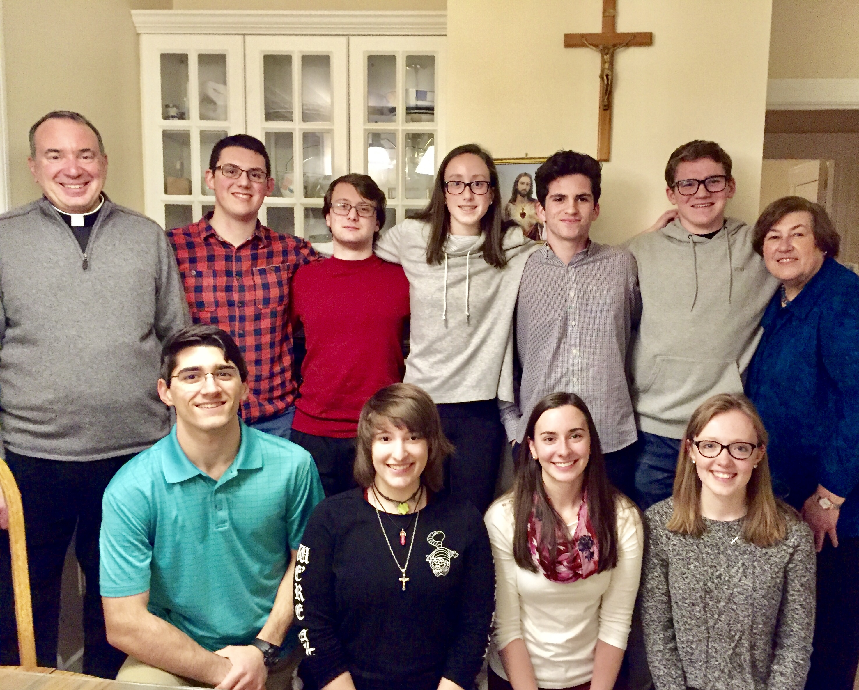 Bentley University Catholic leaders dinner at rectory Friday Feb 1, 2019