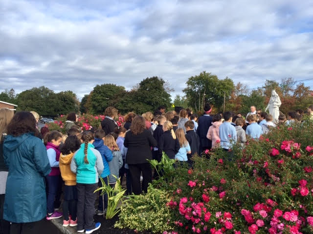 Rosary at our lady's Garden by OLA students and staff along with Fr.Diperri.
